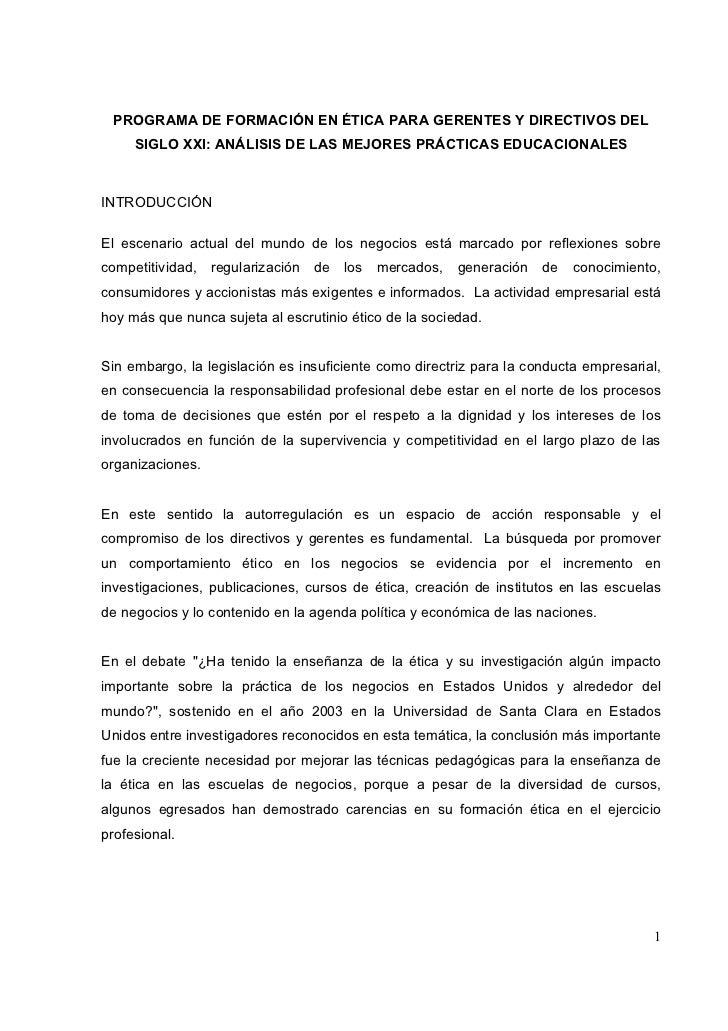 PROGRAMA DE FORMACIÓN EN ÉTICA PARA GERENTES Y DIRECTIVOS DEL     SIGLO XXI: ANÁLISIS DE LAS MEJORES PRÁCTICAS EDUCACIONAL...