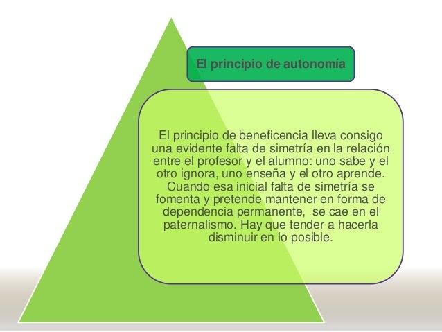 El principio de autonomía El principio de beneficencia lleva consigo una evidente falta de simetría en la relación entre e...