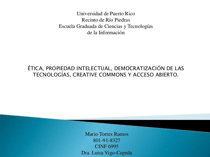 Universidad de Puerto Rico                    Recinto de Río Piedras          Escuela Graduada de Ciencias y Tecnologías  ...