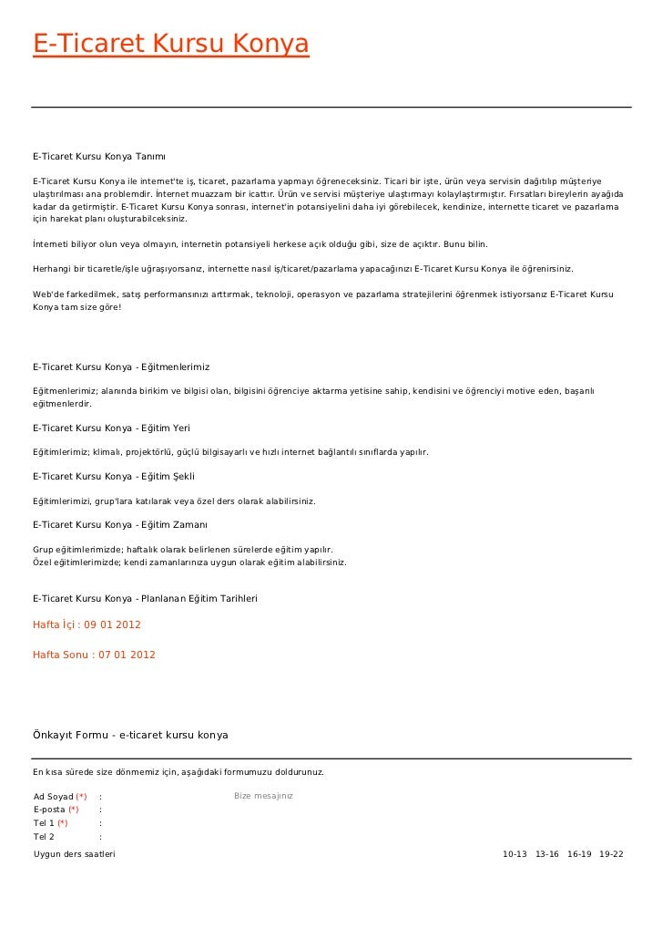 E-Ticaret Kursu KonyaE-Ticaret Kursu Konya TanımıE-Ticaret Kursu Konya ile internette iş, ticaret, pazarlama yapmayı öğren...