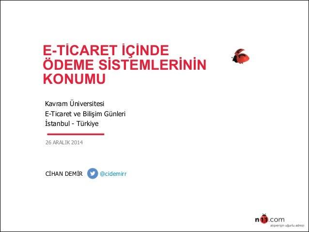 E-TİCARET İÇİNDE ÖDEME SİSTEMLERİNİN KONUMU Kavram Üniversitesi E-Ticaret ve Bilişim Günleri İstanbul - Türkiye 26 ARAL...