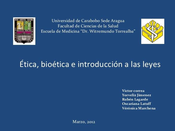"""Universidad de Carabobo Sede Aragua               Facultad de Ciencias de la Salud      Escuela de Medicina """"Dr. Witremund..."""