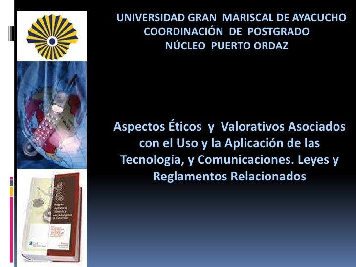 Universidad Gran  Mariscal de Ayacucho                                              coordinación  de  Postgrado          ...