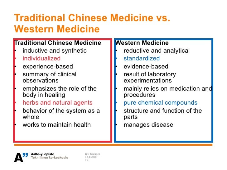 traditional vs alternative medicine Modern vs traditional medicine nowadays, modern medicine has the answer when it comes to detecting and treating a large number of different types of medical conditions, especially the ones triggered by bacteria, viruses and other sorts of infectious agents.