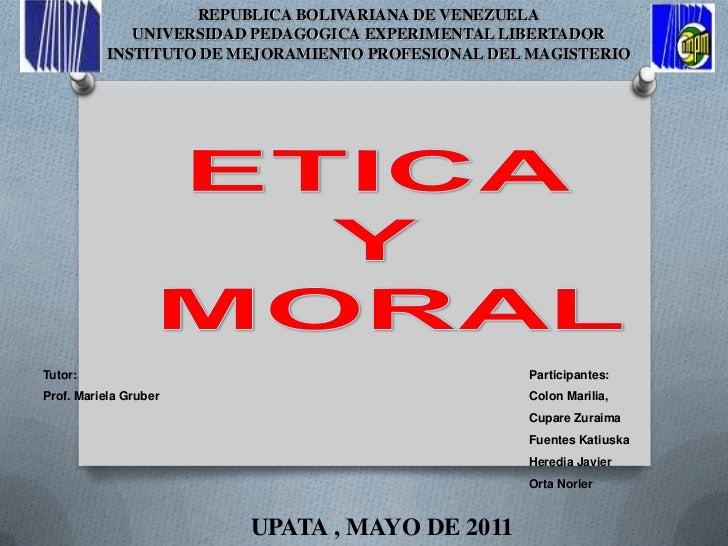 REPUBLICA BOLIVARIANA DE VENEZUELA<br />UNIVERSIDAD PEDAGOGICA EXPERIMENTAL LIBERTADOR <br />INSTITUTO DE MEJORAMIENTO PRO...