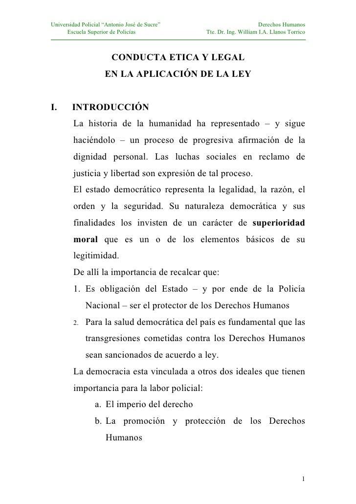 """Universidad Policial """"Antonio José de Sucre""""                         Derechos Humanos       Escuela Superior de Policías  ..."""