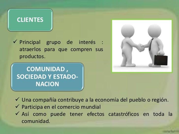 CLIENTES Principal grupo de interés :  atraerlos para que compren sus  productos.    COMUNIDAD , SOCIEDAD Y ESTADO-      ...