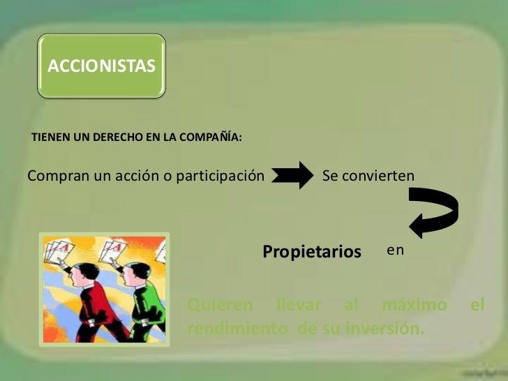 ACCIONISTASTIENEN UN DERECHO EN LA COMPAÑÍA:Compran un acción o participación          Se convierten                      ...