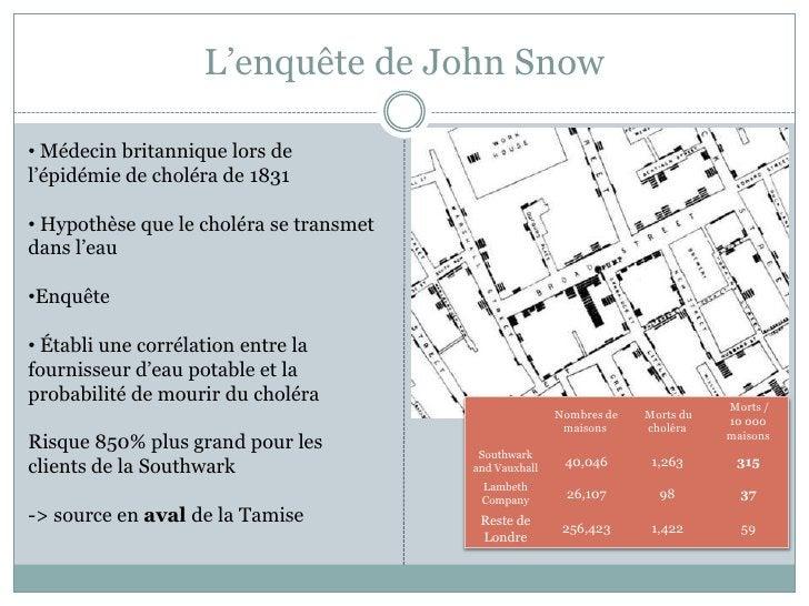 L'enquête de John Snow<br /><ul><li> Médecin britannique lors de l'épidémie de choléra de 1831