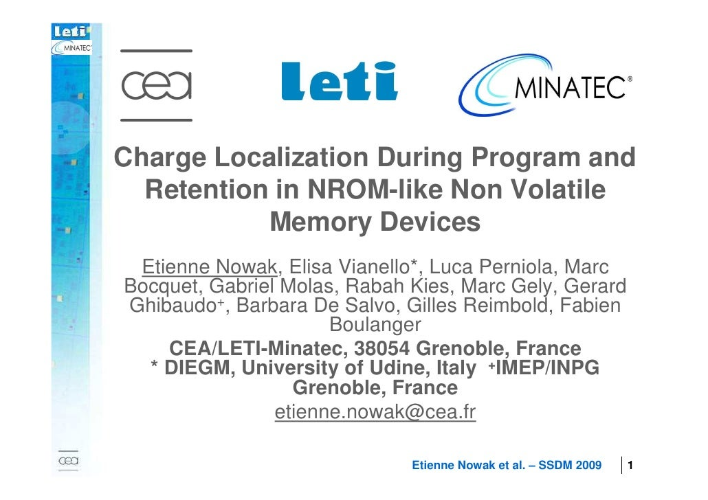 Charge Localization During Program and      Retention in NROM-like Non Volatile               Memory Devices         Etien...