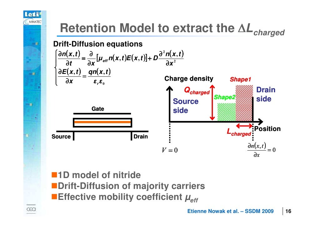 Retention Model to extract the ∆Lcharged        Drift-Diffusion equations         ∂n ( x , t ) ∂                         ...