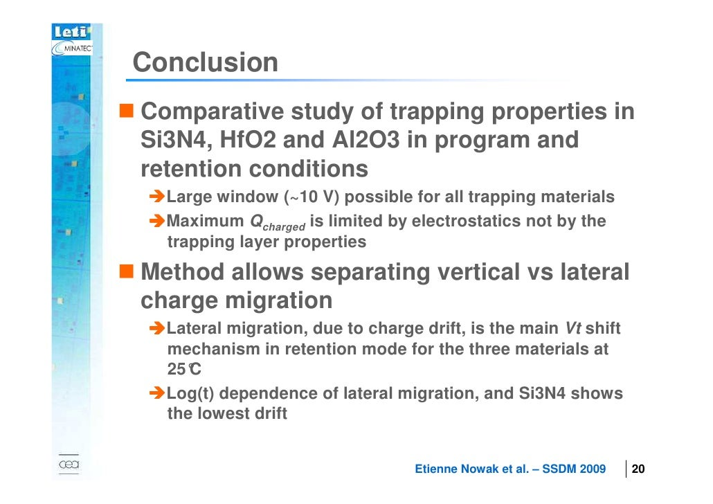 Conclusion        Comparative study of trapping properties in        Si3N4, HfO2 and Al2O3 in program and        retention...