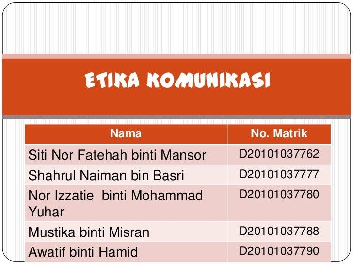 ETIKA KOMUNIKASI             Nama                No. MatrikSiti Nor Fatehah binti Mansor   D20101037762Shahrul Naiman bin ...