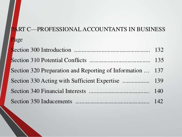 PART C—PROFESSIONAL ACCOUNTANTS IN BUSINESS Page Section 300 Introduction ...................................................