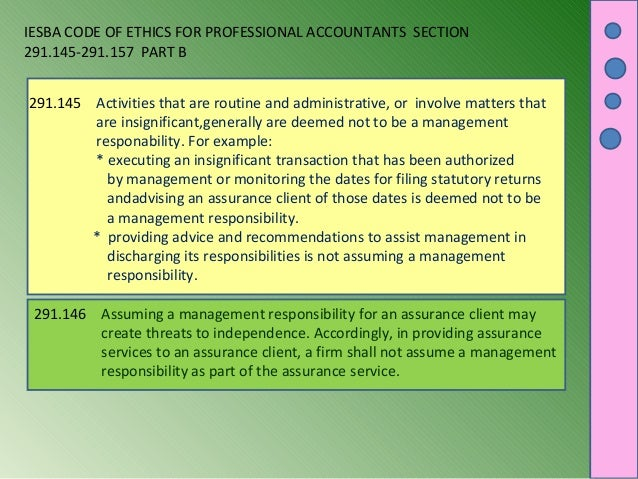 IESBA CODE OF ETHICS FOR PROFESSIONAL ACCOUNTANTS SECTION 291.145-291.157 PART B 291.145 Activities that are routine and a...
