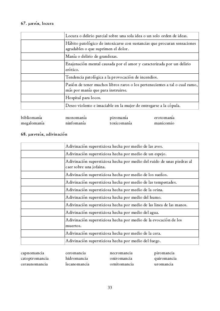 Ejercicios de etimología griega