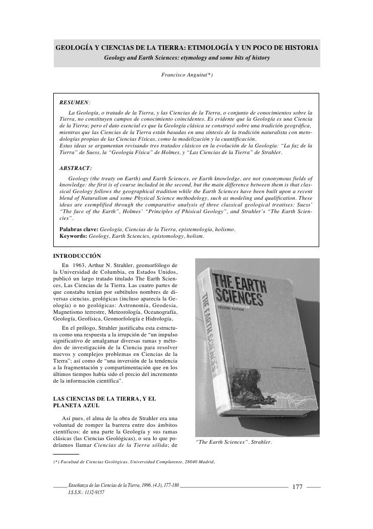 GEOLOGÍA Y CIENCIAS DE LA TIERRA: ETIMOLOGÍA Y UN POCO DE HISTORIA                          Geology and Earth Sciences: et...