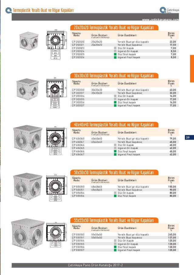 Termoplastik Yeraltı Buat ve Rögar Kapakları www.cetinkayapano.com Sipariş Kodu Ürün ÖzellikleriÜrün Ölçüleri ¨ Birim Fiya...