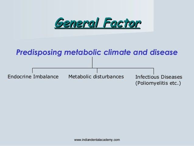 Predisposing metabolic climate and disease Endocrine Imbalance Metabolic disturbances Infectious Diseases (Poliomyelitis e...