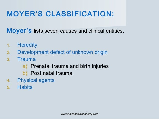 MOYER'S CLASSIFICATION: Moyer's lists seven causes and clinical entities. 1. Heredity 2. Development defect of unknown ori...