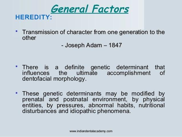 General Factors HEREDITY:  Transmission of character from one generation to theTransmission of character from one generat...
