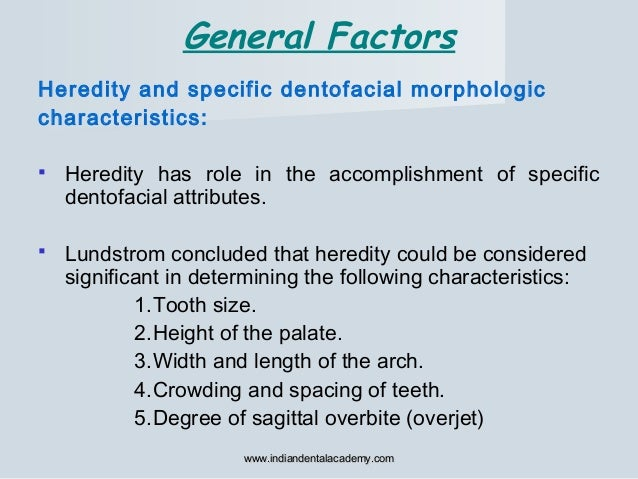 Heredity and specific dentofacial morphologic characteristics:  Heredity has role in the accomplishment of specific dento...