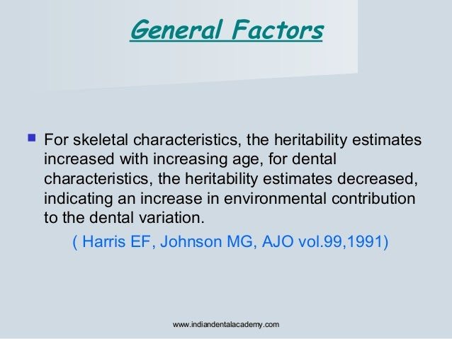  For skeletal characteristics, the heritability estimates increased with increasing age, for dental characteristics, the ...