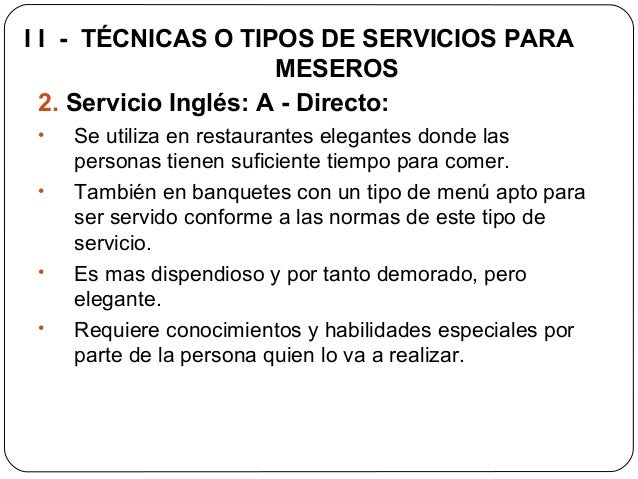Etiqueta protocolo y servicio para meseros servihoteles for Tipos de servicios de un hotel