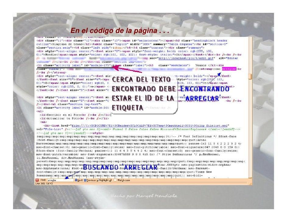 En el código de la página . . .                 Hecho por Maryel Mendiola