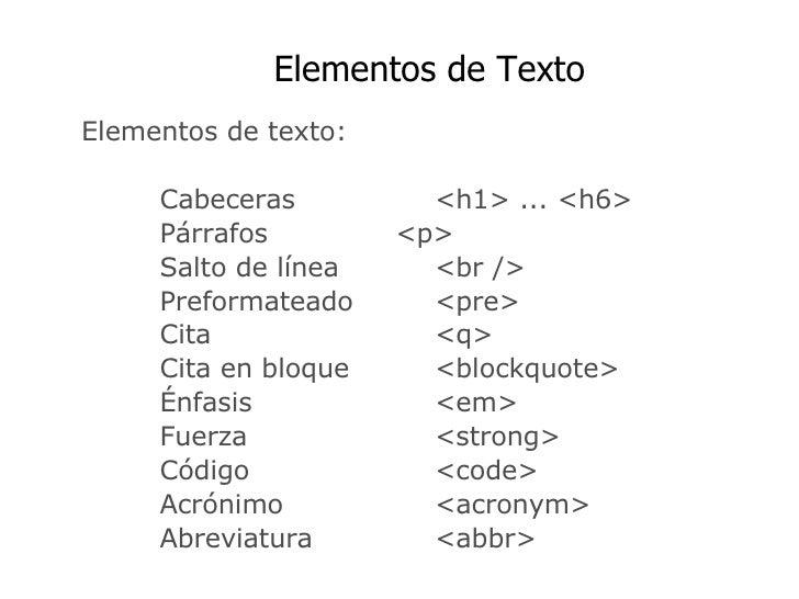 Etiquetas XHMTL Slide 2