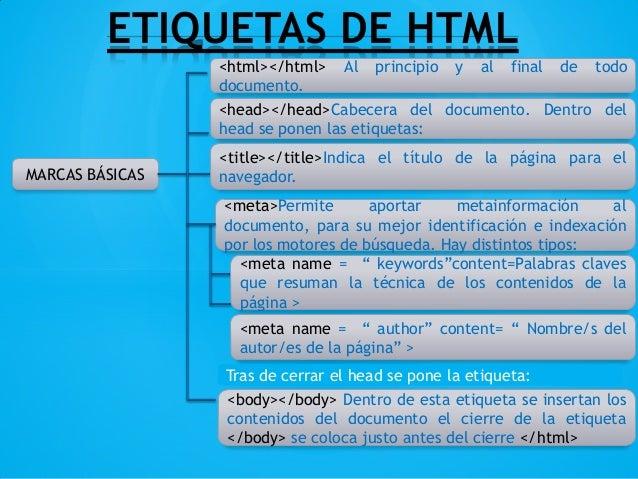 ETIQUETAS DE HTMLMARCAS BÁSICAS<html></html> Al principio y al final de tododocumento.<head></head>Cabecera del documento....
