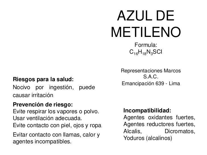 AZUL DE METILENO<br />Formula:<br />C16H18N3SCI<br />Representaciones Marcos S.A.C.<br />Emancipación 639 - Lima<br />Ries...