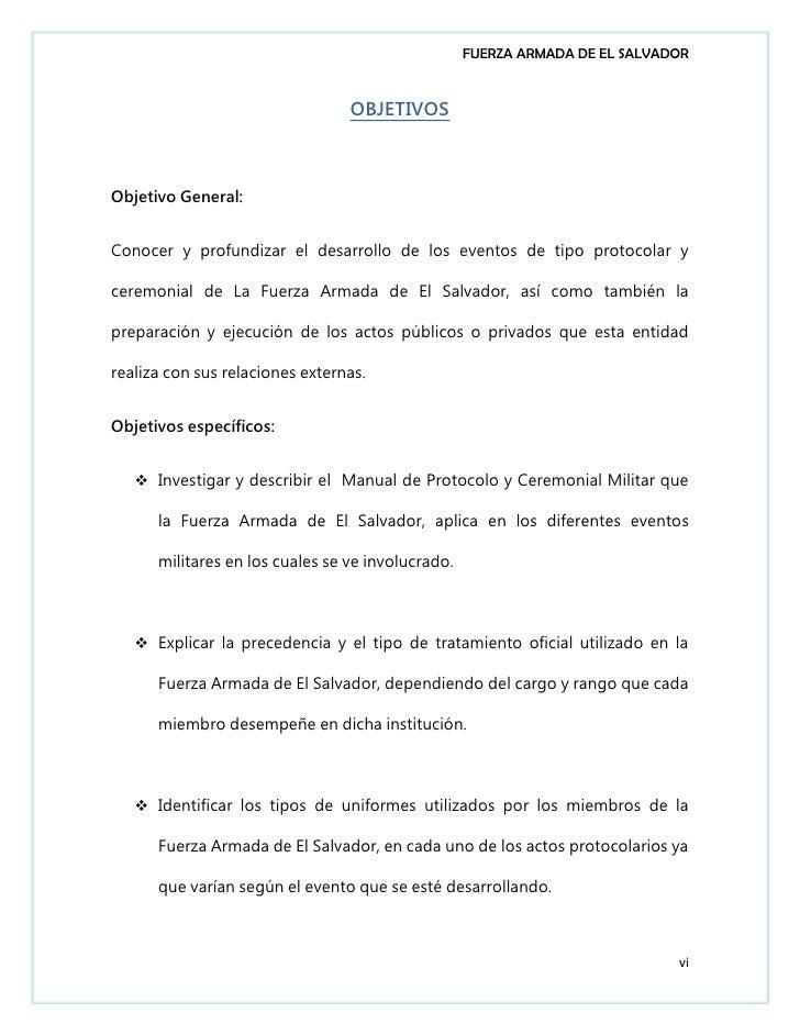 Etiqueta Y Protocolo De La Fuerza Armada De El Salvador