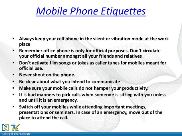 Cell Phone Etiquette Speech