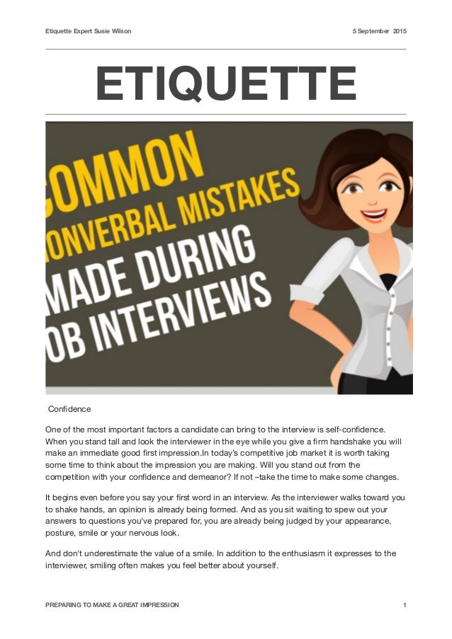Etiquette Common non verbal mistakes made during job interviews