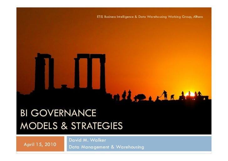 ETIS Business Intelligence & Data Warehousing Working Group, Athens                                                       ...
