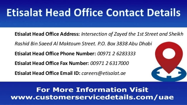 Etisalat Customer Care Number, Head Office Address, Email ID