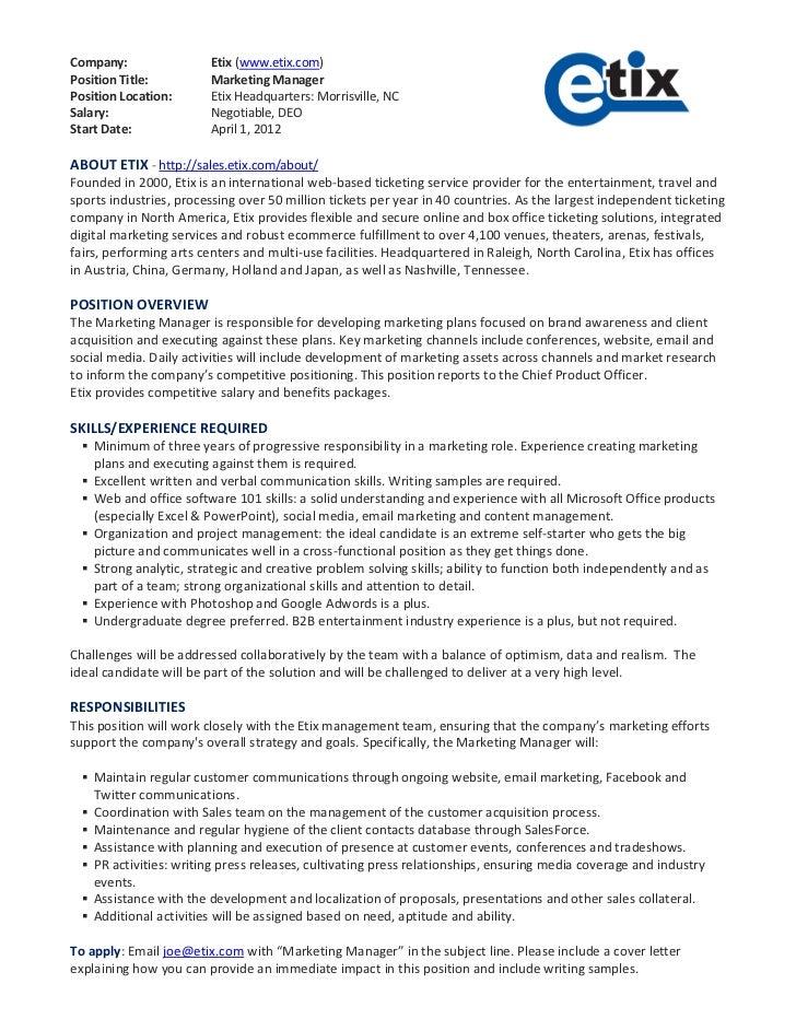 Etix Position Description Marketing Manager – Brand Manager Job Description