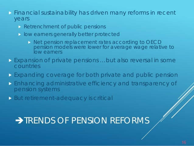 public pension replacement rates Private pension development has a limited space in countries with generous public pensions, since lower expected benefits from the private schemes cannot compete with generous promises of the payg schemes.