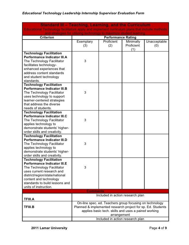 internship evaluation essay