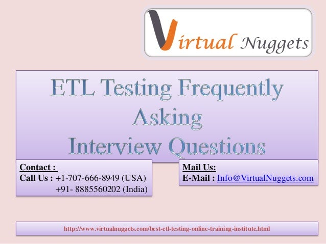 Etl interview questions and Answers