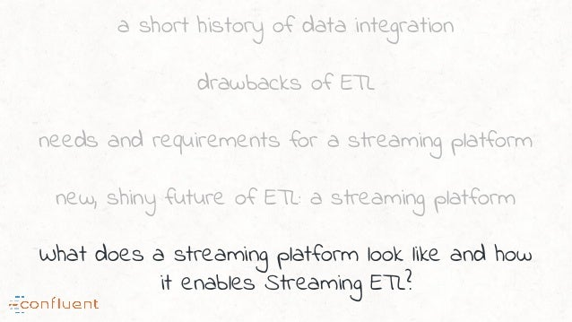 a short history of data integration drawbacks of ETL needs and requirements for a streaming platform new, shiny future of ...