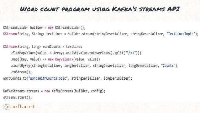 Word count program using Kafka's streams API