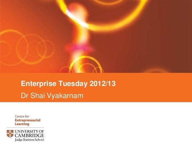 Enterprise Tuesday 2012/13Dr Shai Vyakarnam