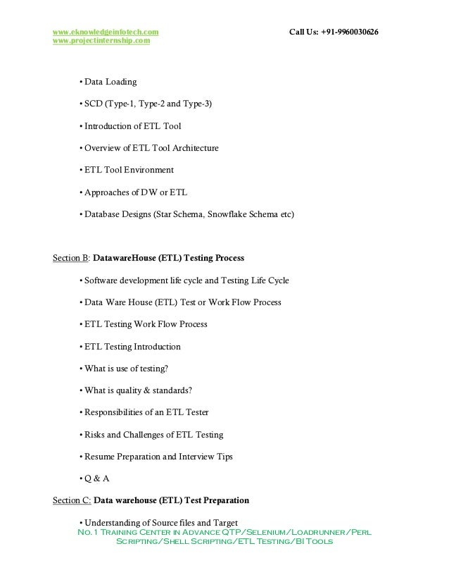 Sr ETL Data Warehouse Reports QA Tester Resume