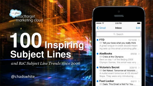 100 Inspiring Subject Lines and B2C Subject Line Trends since 2006  @chadswhite