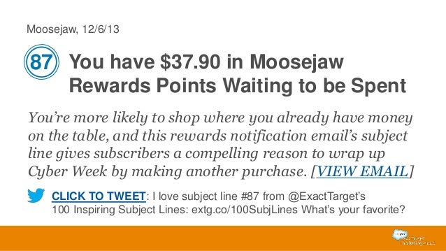 Moosejaw, 12/6/13  87 You have $37.90 in Moosejaw Rewards Points Waiting to be Spent You're more likely to shop where you ...