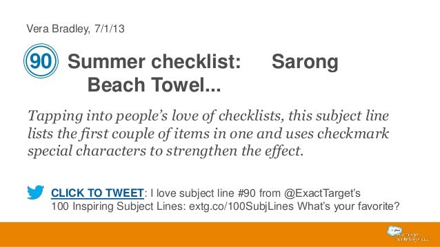 Vera Bradley, 7/1/13  90 Summer checklist:  Sarong  Beach Towel... Tapping into people's love of checklists, this subject ...