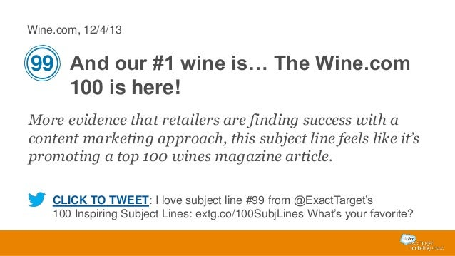 Wine.com, 12/4/13  99 And our #1 wine is… The Wine.com 100 is here! More evidence that retailers are finding success with ...