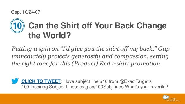 """Gap, 10/24/07  10 Can the Shirt off Your Back Change the World? Putting a spin on """"I'd give you the shirt off my back,"""" Ga..."""